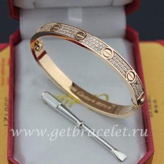 Copy Cartier Love Bracelet Paved Diamonds Pink Gold N6036916