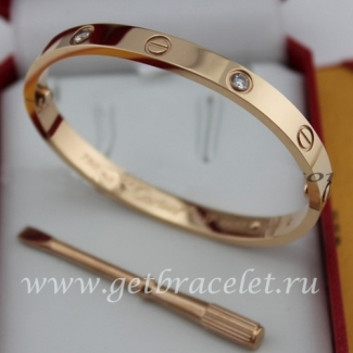 Replica Cartier Love Bracelet Pink Gold 4 Diamonds B6036016 (New Version - Prevent Screws Fall Out)