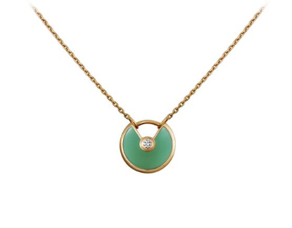Amulette de Cartier Chrysoprase Diamond Necklack in Yellow Gold, White Gold and Pink Gold