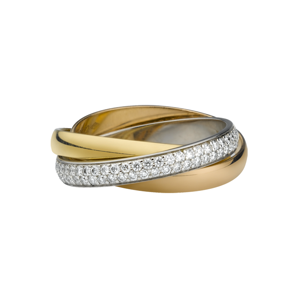 Trinity Ring Cartier 3-Gold, Diamonds B4086000