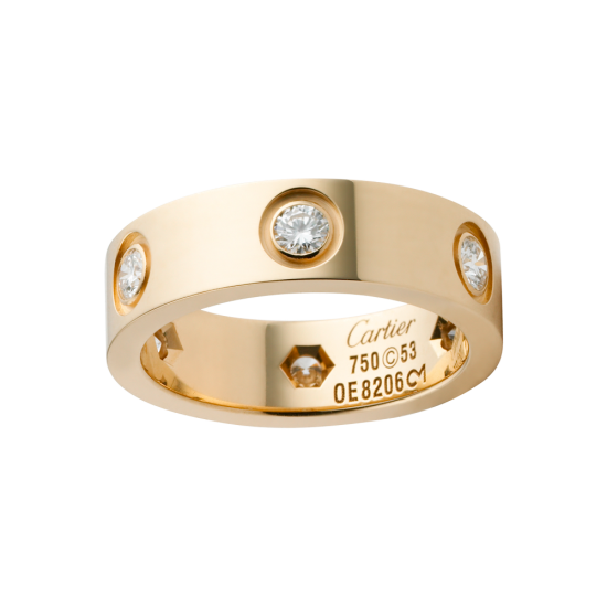 Replica Cartier Love Ring In Pink Gold Set With 6 Diamonds