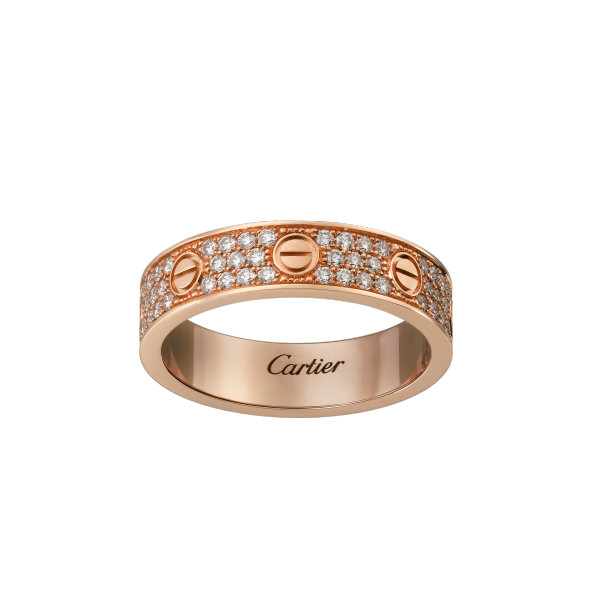 Replica Cartier Replica Love Ring Pink Gold-Diamond-Paved