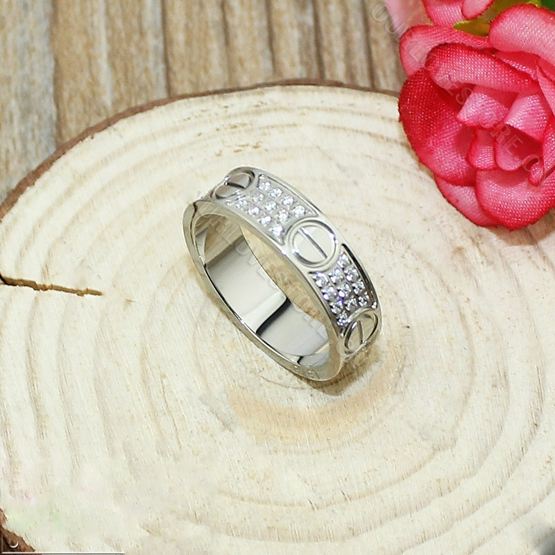 Replica Cartier Replica Love Ring White Gold-Diamond-Paved