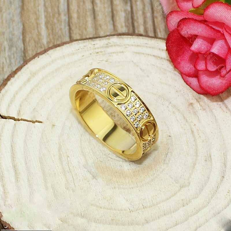 Replica Cartier Replica Love Ring Yellow Gold-Diamond-Paved
