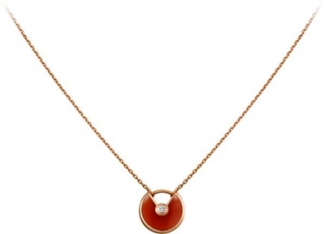 Amulette de Cartier Carnelian Diamond Necklack in Yellow Gold, White Gold and Pink Gold