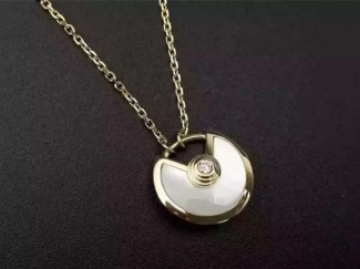 Amulette de Cartier White Mother-of-Pearl Diamond Necklack in Yellow Gold, White Gold and Pink Gold