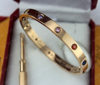 New Arrival Cartier Love Bracelet Pink Gold Colorful Diamonds B6036517