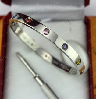 New Arrival Cartier Love Bracelet White Gold Colorful Diamonds B6036317