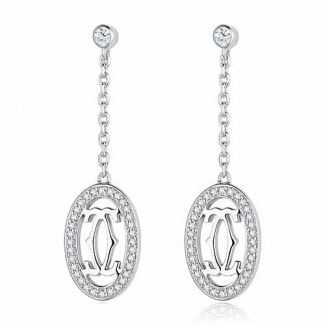 Cartier Logo Double C Earrings in 18K White Gold With Diamonds