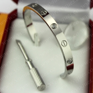 Cartier Semi-Open Love Bracelet White Gold 4 Diamonds