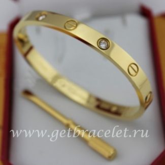 Imitation Cartier Yellow Gold Love Bracelet 4 Diamonds B6035916 (New Version - Prevent Screws Fall Out)
