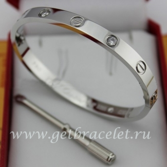 Replica Cartier White Gold Love Bracelet 4 Diamonds B6035816 (New Version - Prevent Screws Fall Out)