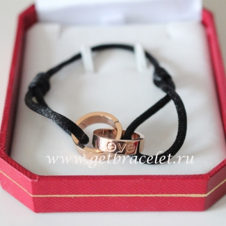 Cartier Double Ring Love Bracelet Pink Gold Black Rope