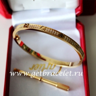 2017 New Cartier Love Bracelet SM Yellow Gold With Diamonds N6710617