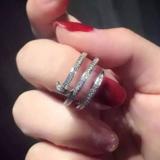 Cartier Juste Un Clou White Gold Full Diamond Double Nail Ring