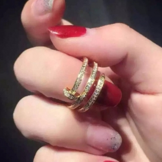 Cartier Juste Un Clou Yellow Gold Full Diamond Double Nail Ring