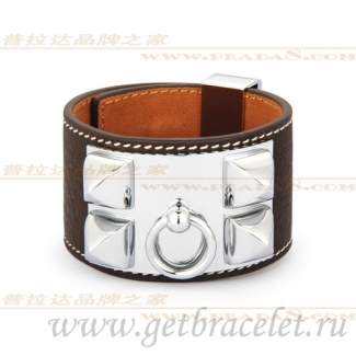 Hermes Collier de Chien Bracelet Coffee With Gold