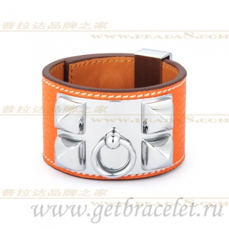 Hermes Collier de Chien Bracelet Orange With Silver