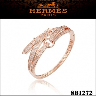 Hermes Debridee Bracelet Pink Gold With Diamonds