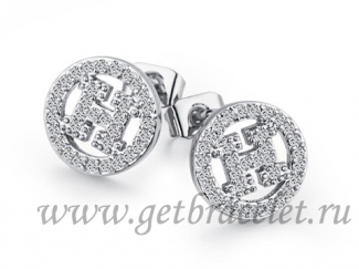 Hermes H Hollow With Diamond Earrings in White Gold