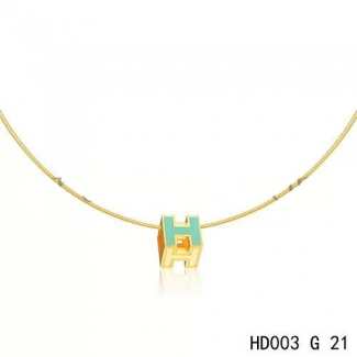 Hermes Cage d'H Necklace Blue in Lacquer Yellow Gold