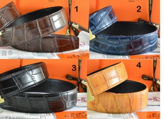 Hermes Reversible Belt Crocodile Stripe Leather Without Buckle
