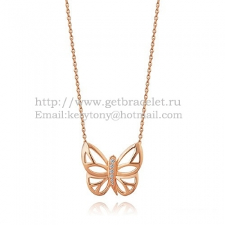 Van Cleef Arpels Butterfly Hollowing Carving Pendant Pink Gold With Diamond