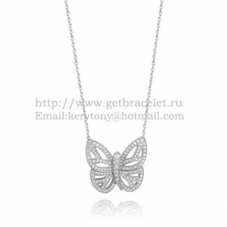 Van Cleef Arpels Butterfly Hollowing Carving Pendant White Gold With Pave Diamond