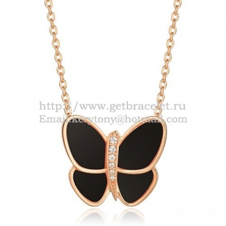 Van Cleef & Arpels Flying Butterfly Pendant Necklace Pink Gold With Black Onyx Diamonds