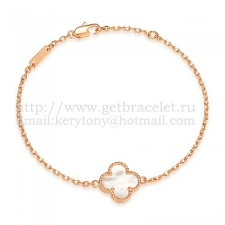 Van Cleef & Arpels Sweet Alhambra Bracelet Pink Gold With White Mother Of Pearl