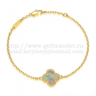 Van Cleef & Arpels Sweet Alhambra Bracelet Yellow Gold With Gray Mother Of Pearl