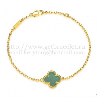 Van Cleef & Arpels Sweet Alhambra Bracelet Yellow Gold With Malachite Mother Of Pearl