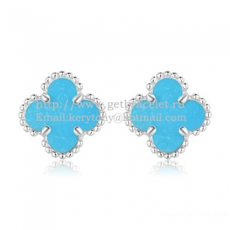 Van Cleef & Arpels Sweet Alhambra Earrings 9mm White Gold With Turquoise Mother Of Pearl
