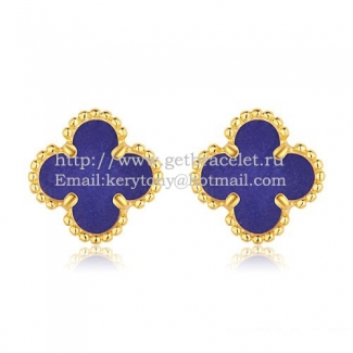 Van Cleef & Arpels Sweet Alhambra Earrings 9mm Yellow Gold With Lapis Stone Mother Of Pearl