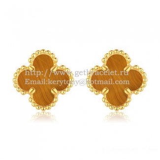 Van Cleef & Arpels Sweet Alhambra Earrings 9mm Yellow Gold With Tiger's Eye Mother Of Pearl