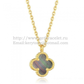 Van Cleef & Arpels Sweet Alhambra Pendant Yellow Gold With Gray Mother Of Pearl 9mm