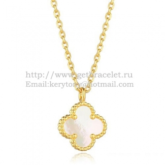 Van Cleef & Arpels Sweet Alhambra Pendant Yellow Gold With White Mother Of Pearl 9mm