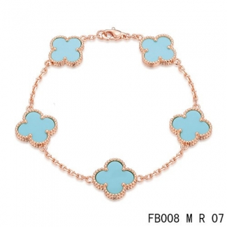 Cheap Van Cleef & Arpels Alhambra Bracelet In Pink With 5 Blue Clover