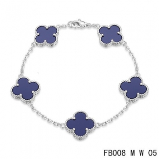 Fake Van Cleef & Arpels Alhambra Bracelet In White With 5 Purple Clover