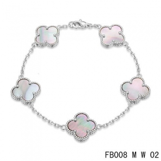 Replica Van Cleef & Arpels Alhambra Bracelet In White With 5 Gray Clover