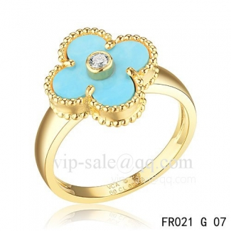 Fake Van Cleef Vintage Alhambra Ring In Yellow Gold With Turquoise