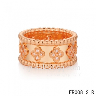 Imitation Van Cleef & Arpels Clover Ring In Pink With Round Diamonds
