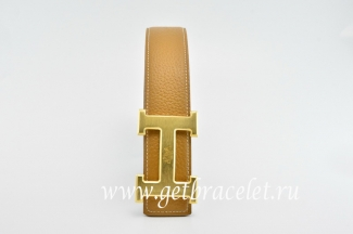 Hermes Reversible Belt Light Coffee/Black Classics H Togo Calfskin With 18k Gold With Logo Buckle