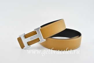 Hermes Reversible Belt Light Coffee/Black Classics H Togo Calfskin With 18k Silver With Logo Buckle