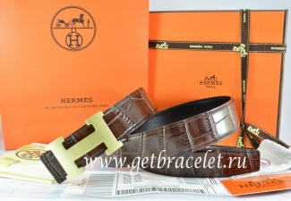 Hermes Reversible Belt Brown/Black Crocodile Stripe Leather With18K Gold H Buckle