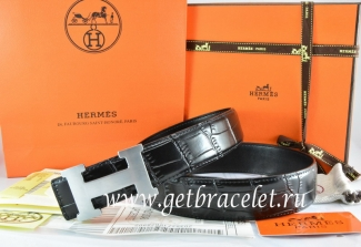 Hermes Reversible Belt Black/Black Crocodile Stripe Leather With18K Silver H Buckle
