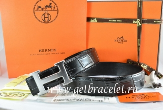 Hermes Reversible Belt Black/Black Crocodile Stripe Leather With18K Drawbench Silver H Buckle