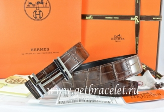 Hermes Reversible Belt Brown/Black Crocodile Stripe Leather With18K Silver H au Carre Buckle