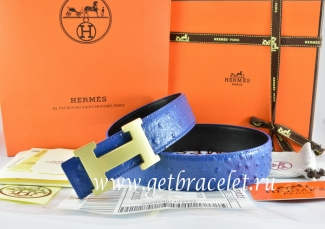 Hermes Reversible Belt Blue/Black/Black Ostrich Stripe Leather With 18K Gold H Buckle