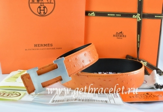 Hermes Reversible Belt Orange/Black Ostrich Stripe Leather With 18K Silver H Buckle